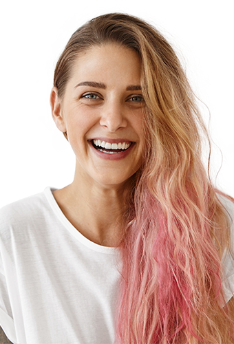 young lady with multi-coloured hair laughing